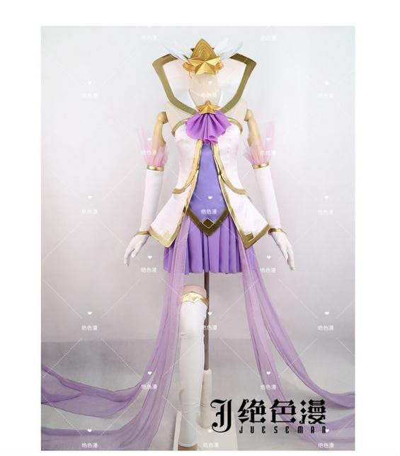 [STOCK] 2017 Game LOL Female Hero Janna Star Guardian Cosplay Magical Girl Costume Full Set For Halloween Carnival Free Shipping