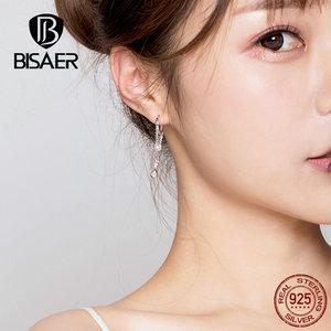 Image 3 - BISAER Rock Style 925 Sterling Silver Geometric Hyperbole Stud Earrings for Women Cubic Zircon Sterling Silver Jewelry ECE638