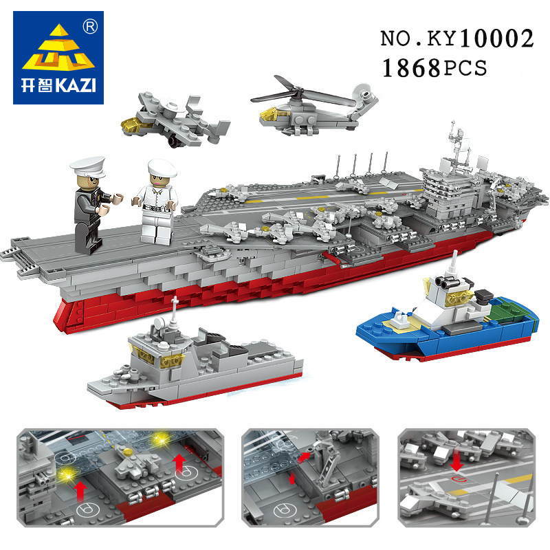 KAZI 10002 Military Battleship building blocks Gift Sets 3D Construction 1868+ Brick Legoingly Educational Toys for ChildrenKAZI 10002 Military Battleship building blocks Gift Sets 3D Construction 1868+ Brick Legoingly Educational Toys for Children