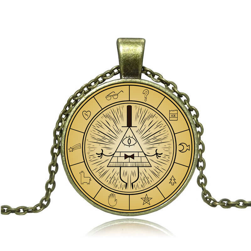 Steampunk Drama Gravity Falls Mysteries BILL CIPHER WHEEL Pendant Necklace glass doctor who 1pcs/lot Glass Dome handmade jewelry