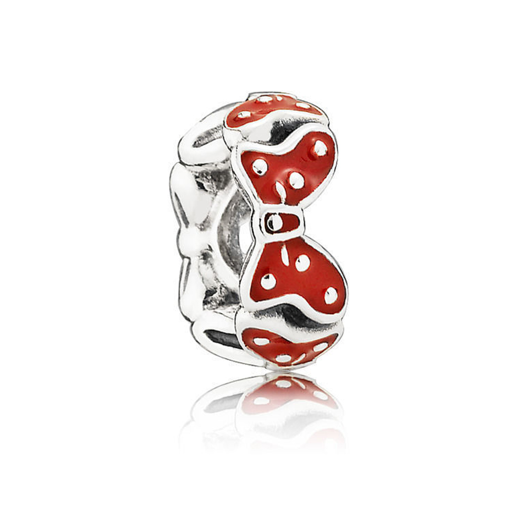 Minnies Bows Spacer Red Enamel Charm Beads 100% 925 Sterling Silver DIY Jewelry Fit pandora charms silver 925 original