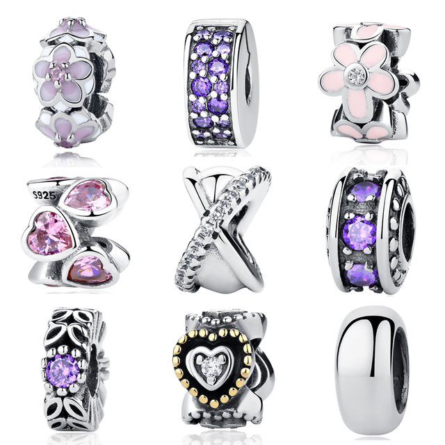 Authentic 925 Sterling Silver Beads Inspiration Pink Color CZ Zirconia Spacer DIY Charms Fit Original Pandora Bracelets Jewelry