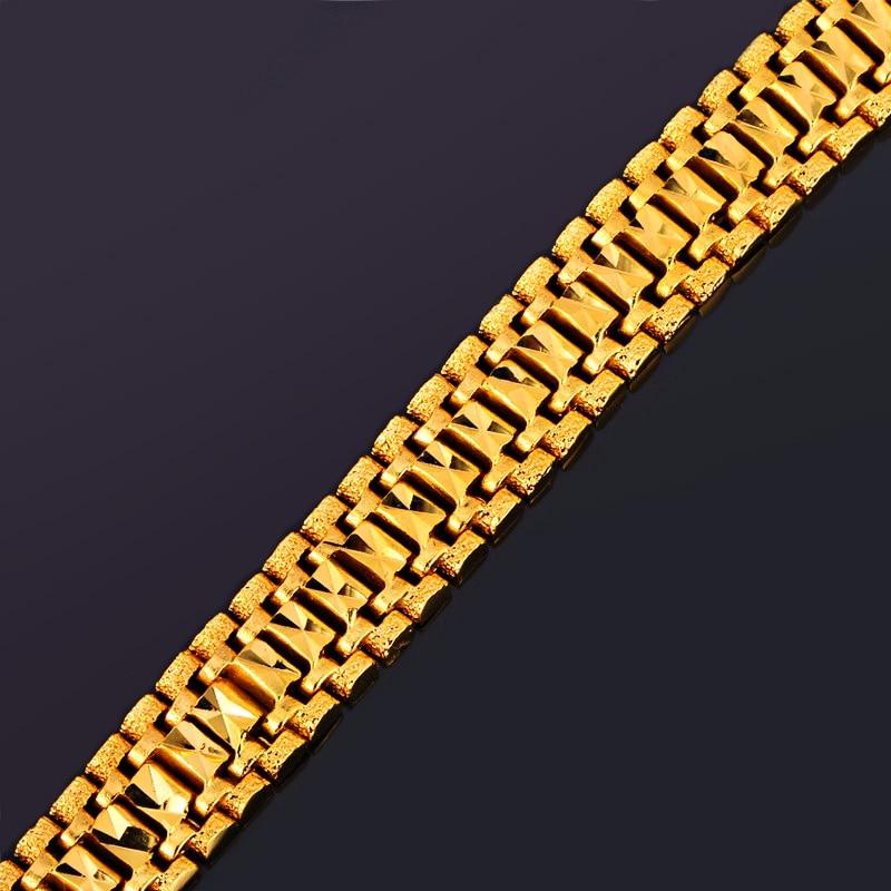 U7 Mens Bracelet Punk Rock Style Black/Silver/Gold Color Big Wide Chunky Chain Link Bracelets Meditation Men Jewelry Gift H550 4