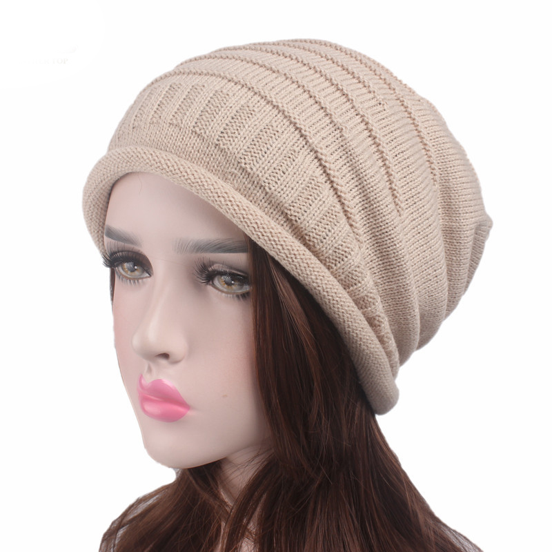ZENGCAI 2017 Women Fashion Winter Baggy Beanies Autumn Warm Knitted Hat Slouchy Crochet Skullies Hats Casual Solid Cap gorros winter casual cotton knit hats for women men baggy beanie hat crochet slouchy oversized hot cap warm skullies toucas gorros y107