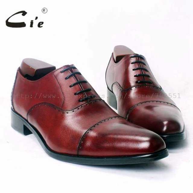 cie Pointed Cap Toe 100%Genuine Calf Leather Outsole Breathable Dress/Casual Handmade Men's Shoe Oxford Wine Color Flats OX364