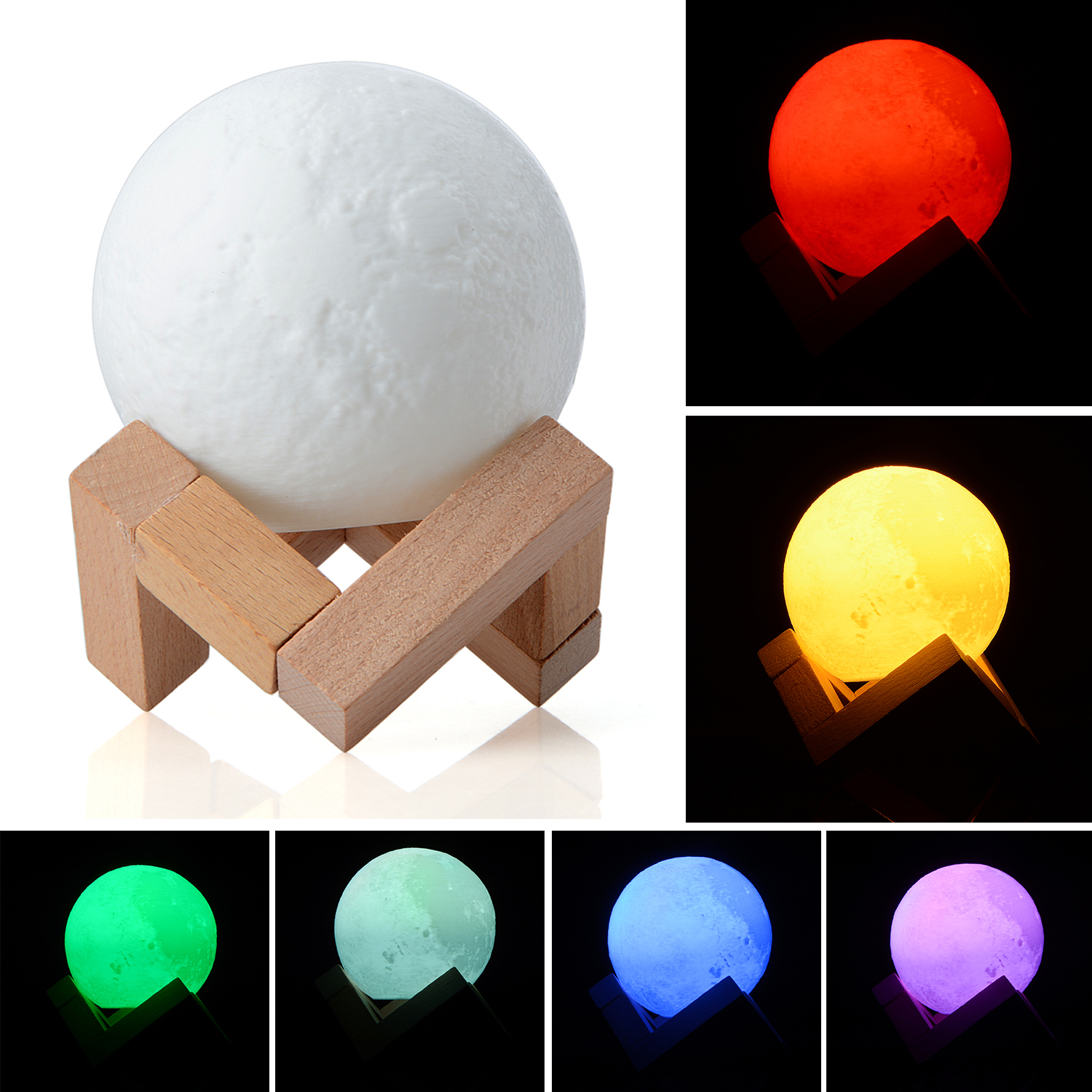 3D Light Full Moon Light Print Simple Personality Lunar Lamp Creative Desk Lamp Night Lights For Decoration Dia 8/10/15cm T0.2