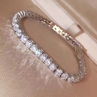 5A quality 925 Sterling Silver cz square zircon bracelet luxury brand replica jewelry women accessories