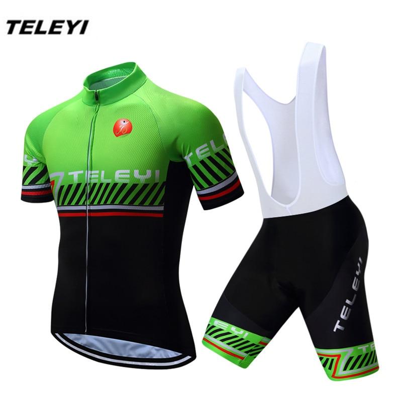 TELEYI Կանաչ Սև MTB Bike Jersey բիբ շորտեր Տղամարդկանց հեծանվավազք Հեծանիվ հեծանիվ Թոփ ներքևի կոստյումներ Ropa Ciclismo maillot վերնաշապիկներ