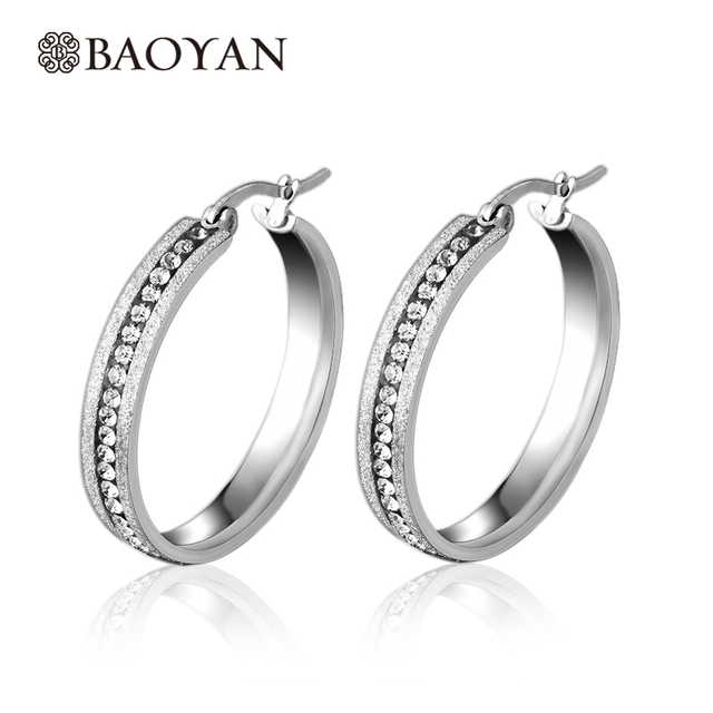 Whole 30mm 40mm 50mm Three Size Stainless Steel Silver Hoop Earrings Large Women Crystal