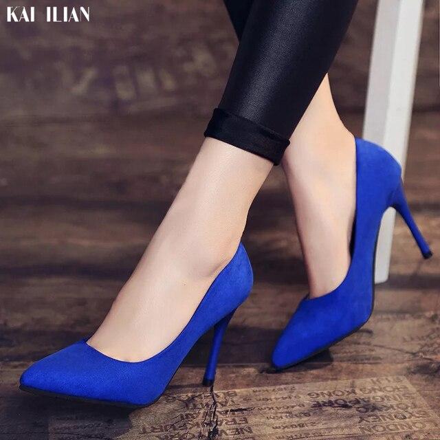 Sapatos Mulheres 2019 sapato toe pointed saltos finos sapatos de salto alto Senhora do escritório conncise azul rosa sapatas das senhoras de moda Feminina confortável
