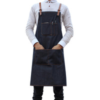 Sleeveless Coking Apron Denim Apron for Men Women with Adjusted Straps Cooking Aprons Waitress Workwear Kitchen Uniform