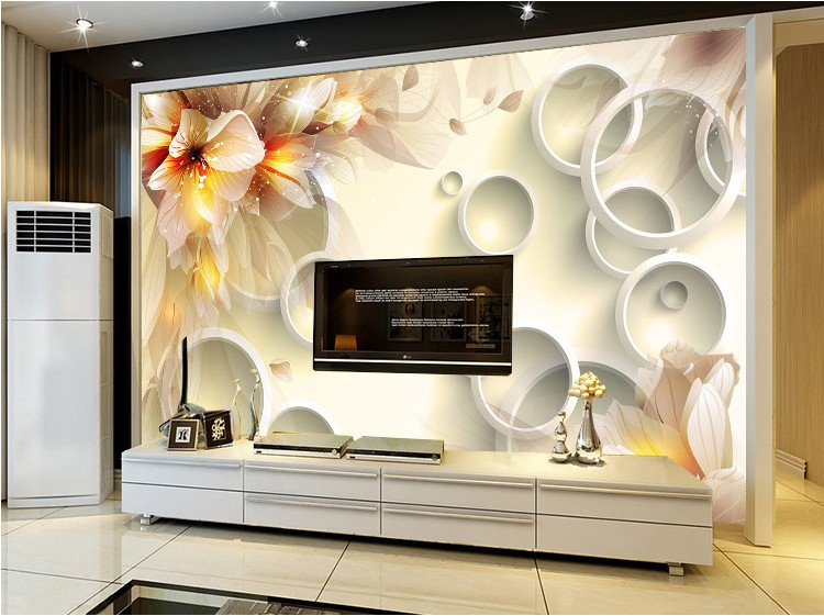 Hot Chinese Abstract circle large 3d mural custom room
