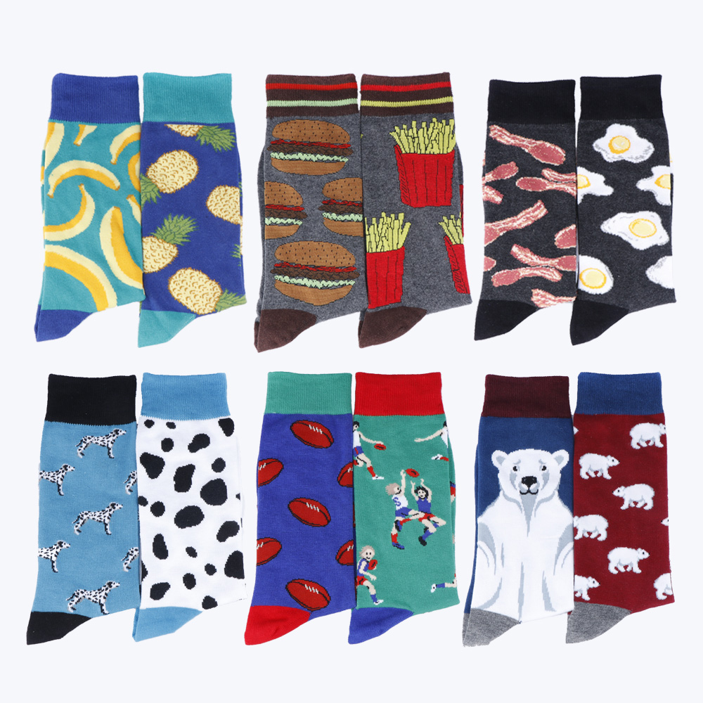 Men's Big Large Size Banana Hamburger Chips Pineapple Banana Poached Egg Bacon Spotted Dog Funny Long Socks Novelty Cotton Socks
