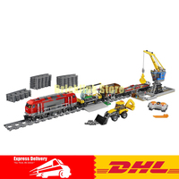 Lepin 02009 1033pcs City Engineering Remote Control RC Train Building Block Compatible 60098 Brick Toy
