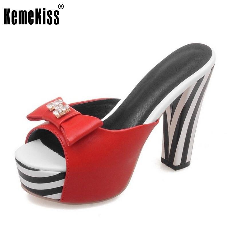 ФОТО new women square heel sandals platform slippers bowtie shoes women high heels flip flops footwear woman size 32-42 PC00042