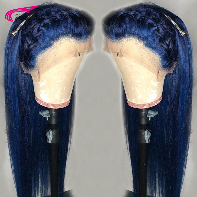 Carina Preplucked Colored 13x6 Lace Wig Glueless Brazilian Straight Remy Dark Blue Lace Front Human Hair Wigs With Baby Hair(China)