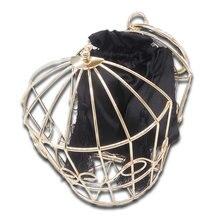 Boutique De FGG Rose Gold Metal Bird Cage Women Fashion Handbags Purse Evening Totes Bags Party Banquet Prom Clutch Bag