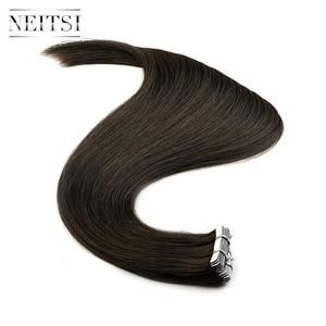 """Image 4 - Neitsi mais novo fita em extensões de cabelo humano remy invisível dupla desenhada amor linha de trama da pele cabelo em linha reta 16 """"20"""" 24 """"disponível"""