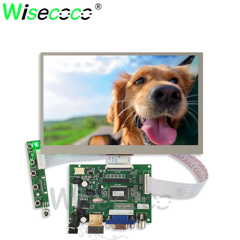 wisecoco 7 Inche 1024*600 IPS Screen Display LCD TFT Monitor EJ070NA-01J with Driver Control Board 2AV HDMI VGA for Raspberry Pi image