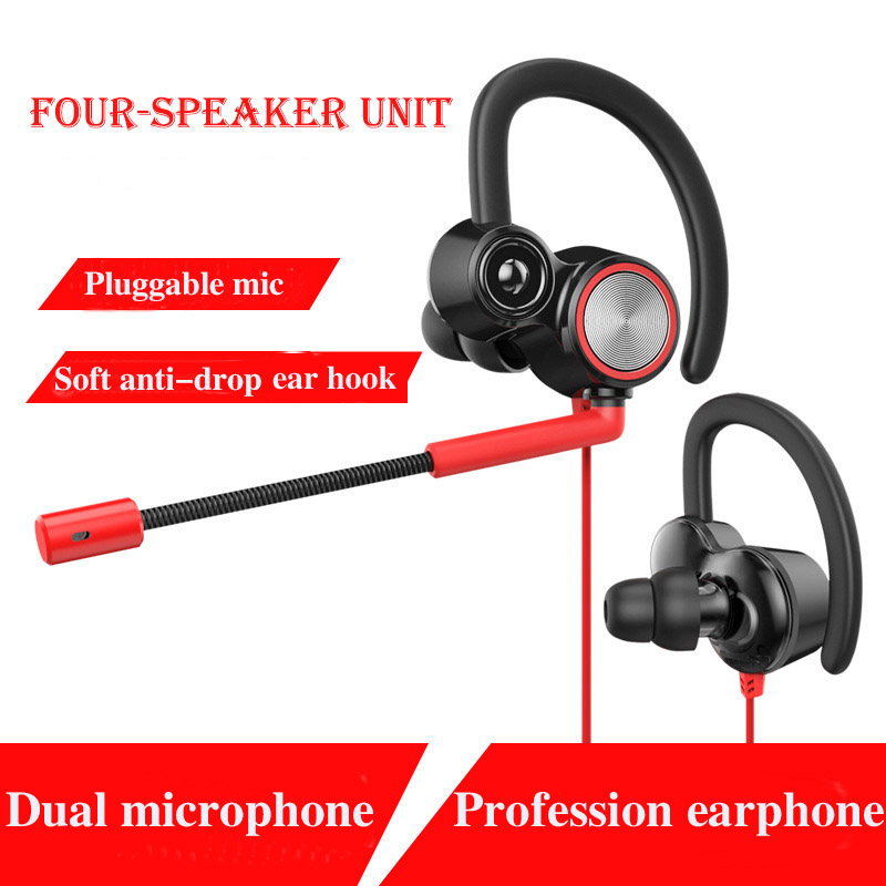 In-Ear airpods Stereo Ear Hook Gamer Headphone Earphone Earbuds With Mic Wired gaming headset headphones for a mobile phone