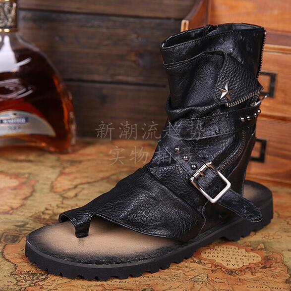 Genuine Leather Summer Gladiator Sandals For Men Rivets Thong Shoes Men Ankle Strap Designers Beach Mens