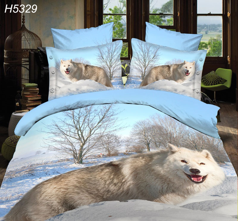 white woof 3D bedding sets 3d bedsheet Digital HD bedclothes 3d