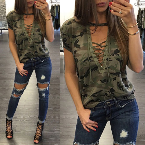 Ladies T-Shirt Tops Bandage Short-Sleeve Gray Loose Army-Green Hollow-Out Casual Camouflage