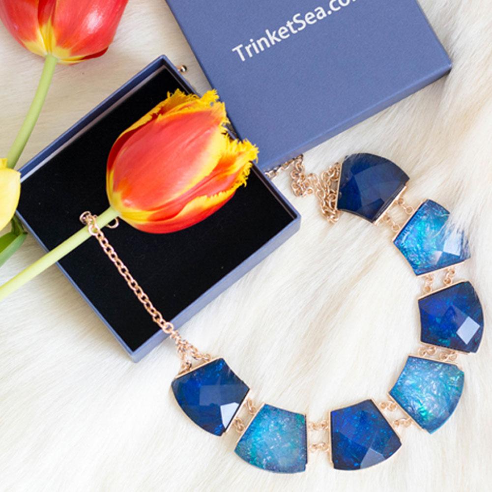 TrinketSea Multi Color Round Shining Statement Necklace For Women Short Bib Choker Geometric Cut Golden Chain Fashion Jewelry