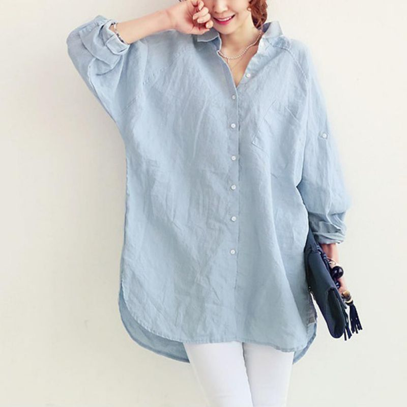 Elegant Turn-down Collar Women   Blouse     Shirt   Summer Ladies Office OL Loose Tops Large White Casual Linen Blusas White Blue