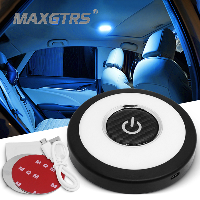 Automobile Portable UFO LED Car Reading Lamp Ice Blue/White Light Vehicle Inside Mini Book Light for Bedroom Closet Cabin