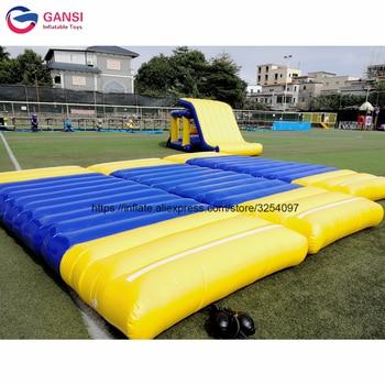 Aqua park trampoline games water floating air mat,5x2x0.3m inflatable water mat for kids