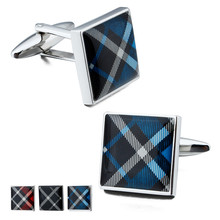 Square Three 3 Color Optional  Discount Cuff Links For men Retail Online Men's Shirts Accessories