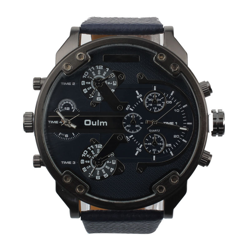 2017 Luxury Military Army Dual Time Quartz Large Dial Sports Wrist Watch Oulm blue shope #3001