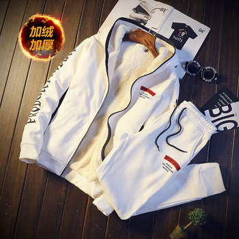 Casual Tracksuit Mens Set Winter Brand Two Piece Sets Inner Fleece Thick Warm Hooded 2PC Jacket + Pants Sporting Suit Male