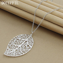 Buy sterling silver leaf pendant and get free shipping on doteffil 925 sterling silver big pendant necklace women mozeypictures Images