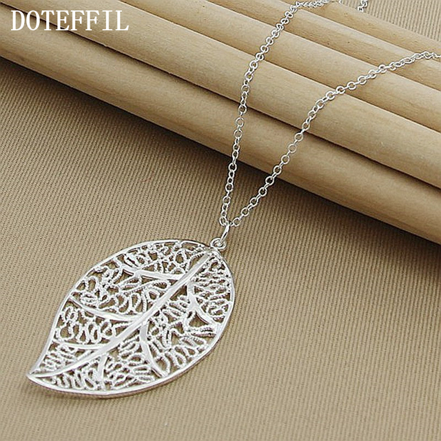 New fashion 925 sterling silver big leaf pendant necklace beautiful new fashion 925 sterling silver big leaf pendant necklace beautiful elegant charm silver leaf necklace jewelry mozeypictures Image collections