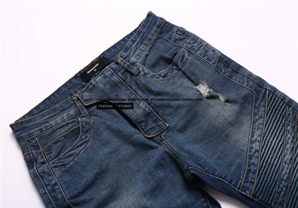 US $42.88 |BIKER Persönlichkeit Loch Dünne Ausgefranste Jeans Kanye West Streetwear Gewaschen Zu Tun Die Alten Tragen Gebrochen Schlank Zerrissene