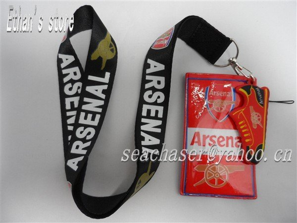 Freet Shipping  polyester Arsenal national Soccer lanyards with  ID card  case Euro-premium team keychain free shipping