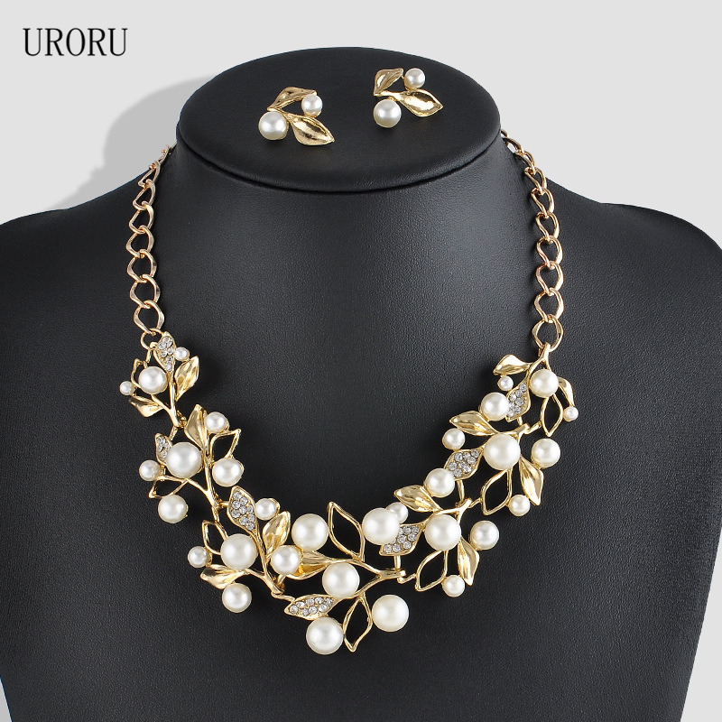 URORU Hot Imitation Pearl Wedding Necklace Earring Sets Bridal Jewelry Set For Women Elegant Party Gift Fashion Jewelry