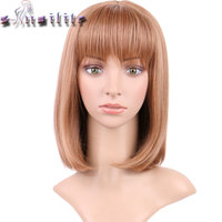 S Noilite 16inches Silky Straight Ombre Light Brown Golden Party Hair Wig Synthetic Full Head Wigs