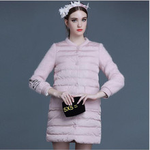 2016 Winter Europe New Fashion Women's Clothing Which Show Thin Embroidery Straight Knitting Cotton-padded Jacket, Coat