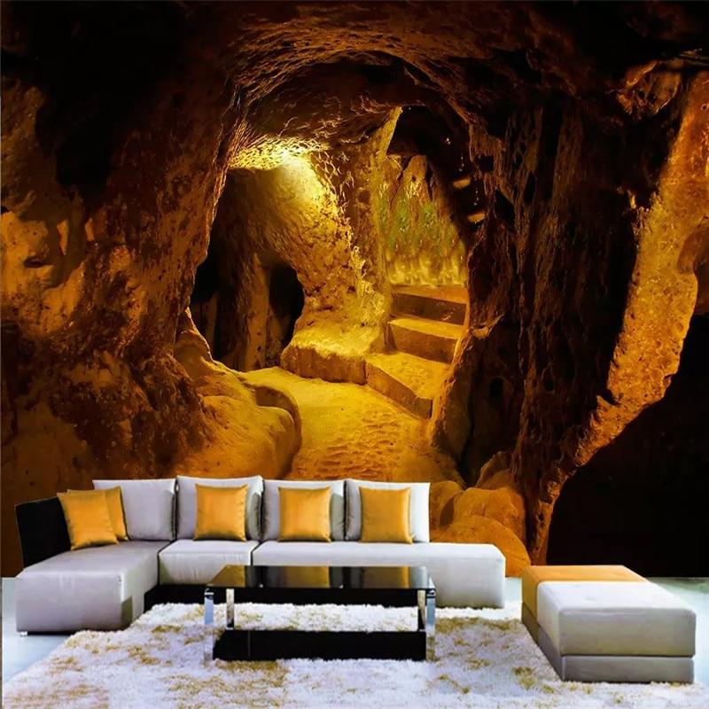 High-end personalizado caverna caverna de pedra papel de parede original 3d em larga escala grande parede material à prova d' água