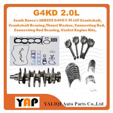 G4KD Crankshaft Bearing Connecting Rod Connecting Rod Bearing Gasket Engine Kits,FOR Kia Sportage 2.0L G4KD 16V 2009-2015 the crankshaft with set of main bearing rod bearing and thrust ring for yangdong ynd485q ynd485t part number