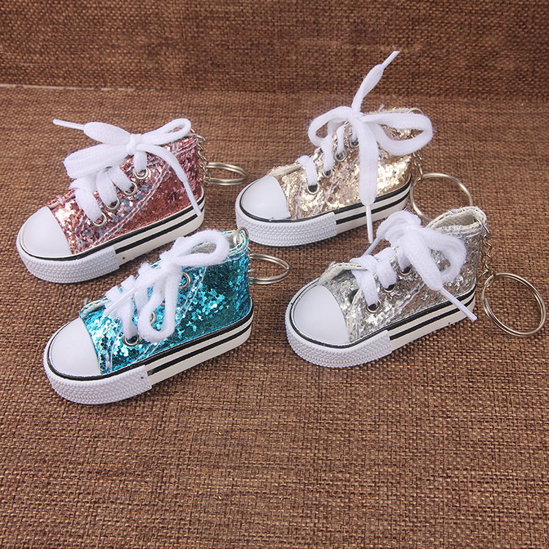 SUKI Cute Tenis Shoes Keychain Bag Charm Sparkling Glitter Key Ring Key Holder Gift Sports Mini Sneaker Key Chain Funny Gifts