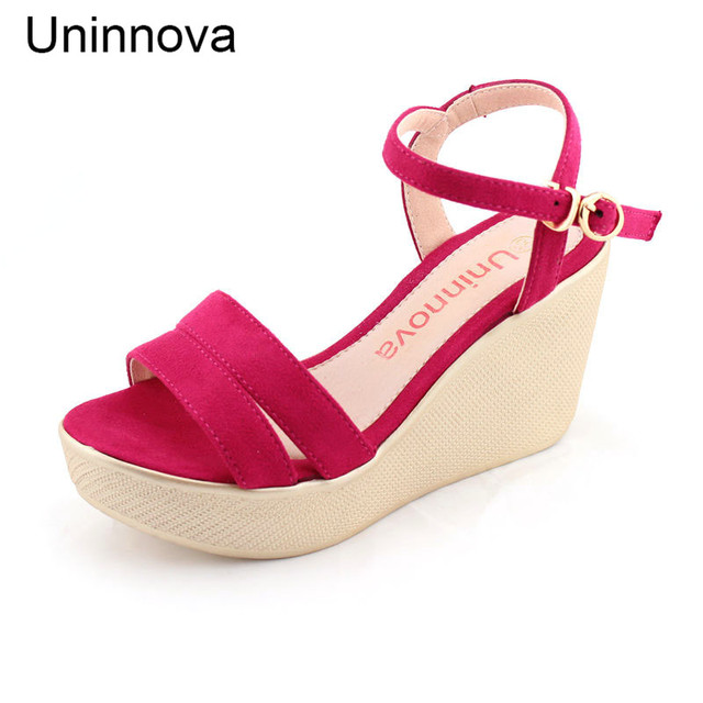 29a6f8004a7ae3 Uninnova Women s Wedge Sandals High Heel Sandals Black Rose Red Pink Casual Comfortable  Sandals Extral Small Size 32-43 WSA064