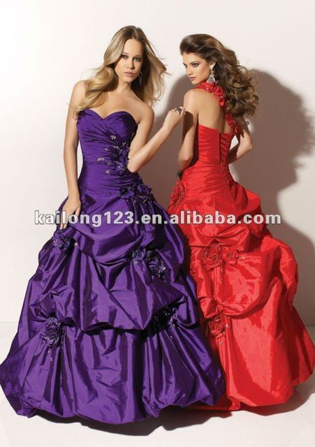 Stylish Sweetheart Removable Floral One-shoulder Ball Gown Long Purple Red Wrap Beaded Pick Up Taffeta Girls Party Dresses