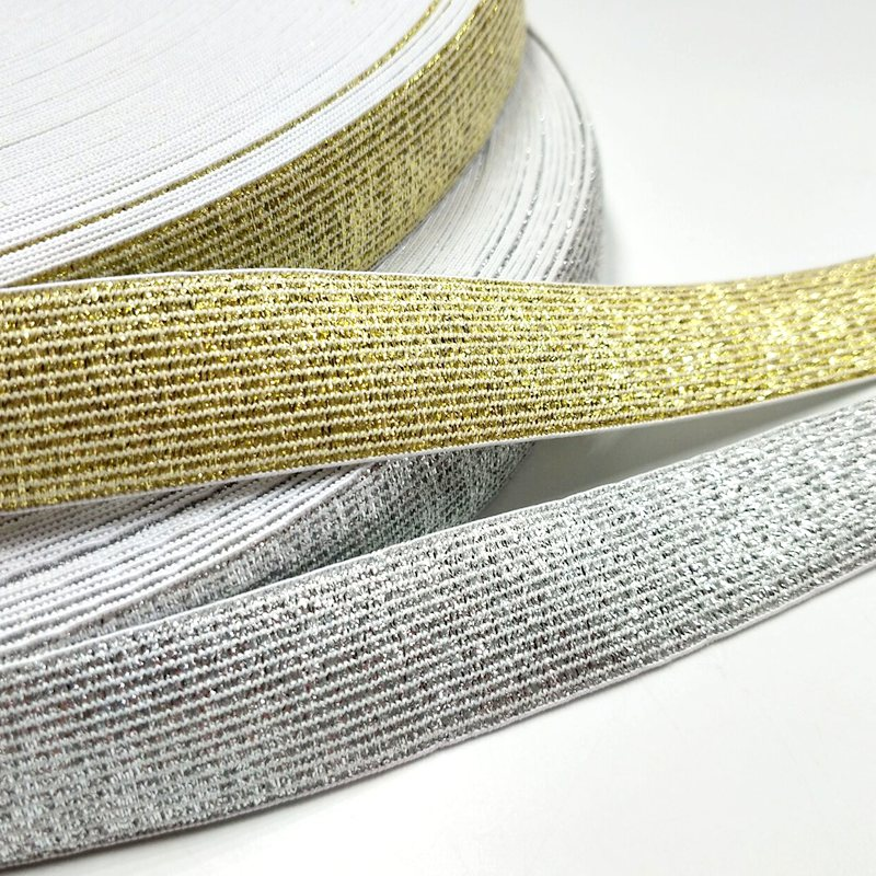 HL 25MM Width 5meters/package Gold/Silver High Quality Nylon Elastic Bands For Garment Trousers Sewing Accessories DIY