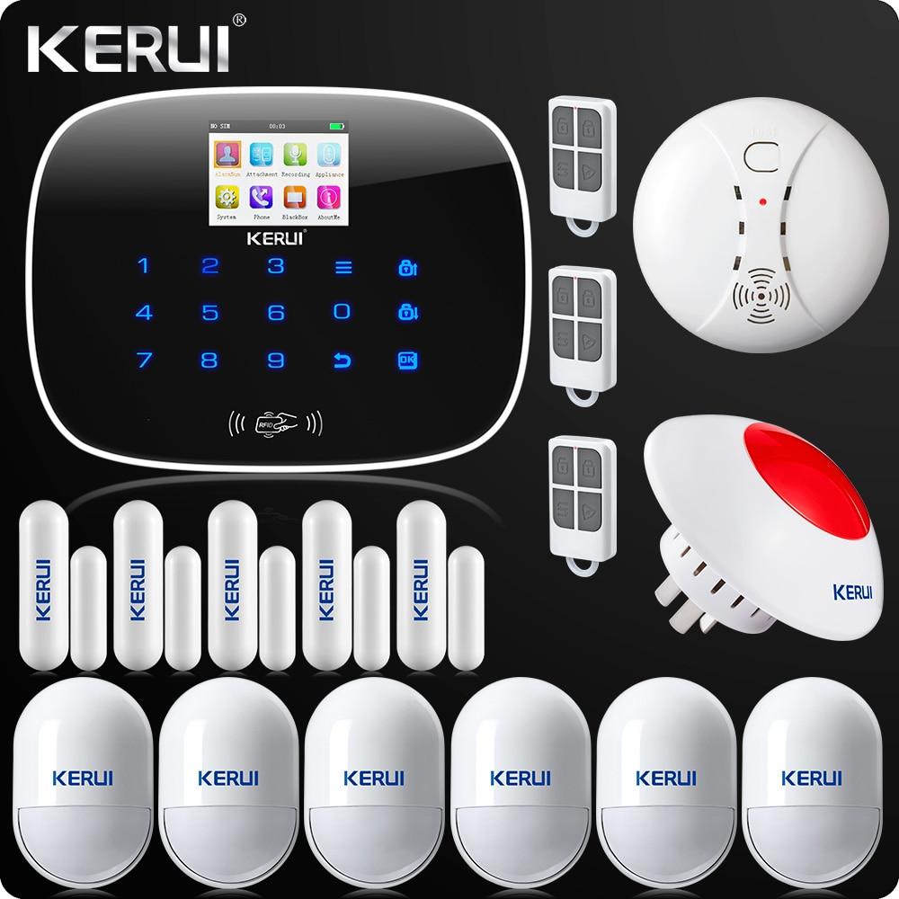 KERUI G19 APP di Controllo Dello Schermo di Tocco di Allarme Senza Fili di GSM SMS Intruder Sistema di Allarme di Sicurezza di Movimento PIR Sirena Senza Fili Sensore di Fumo