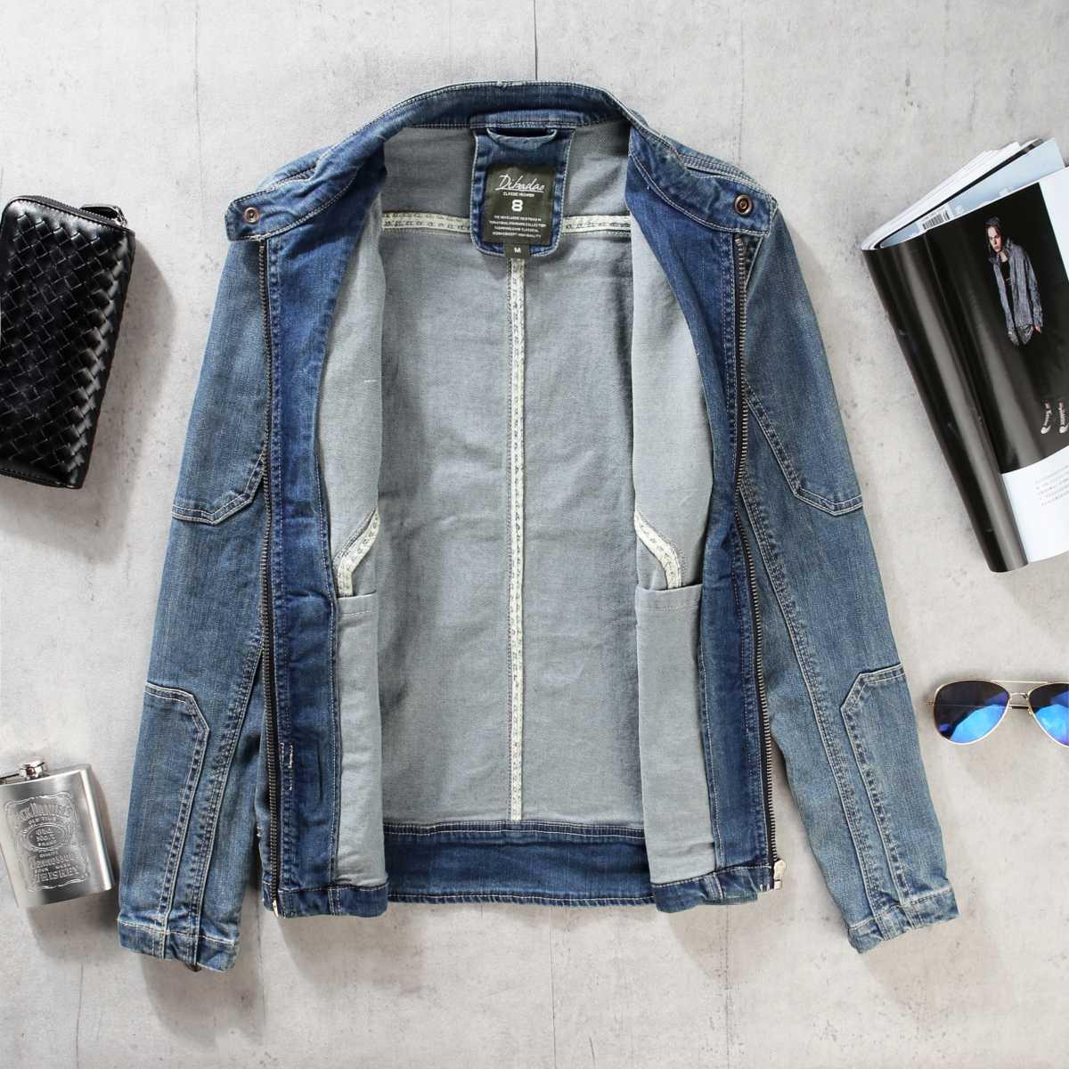 2019 yeni dikiş denim ceket erkek slim standı retro motosiklet giyim, moda gençlik düz renk kısa denim ceket üst