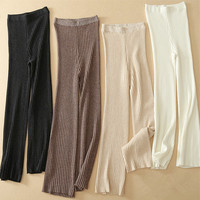 goat cashmere knit women wide leg pants high waist full length trousers vertical concave convex striped S/M/L